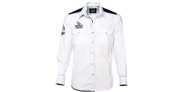Pánská bílá košile s barevnými detaily M. Conte