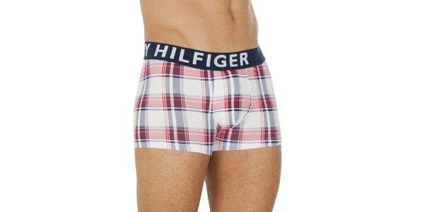 Pánské bílo-červené kárované boxerky Tommy Hilfiger