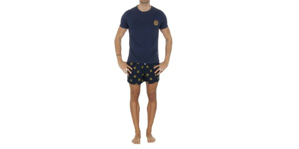 Pánský modrý pyžamový set se žlutými potisky Tommy Hilfiger