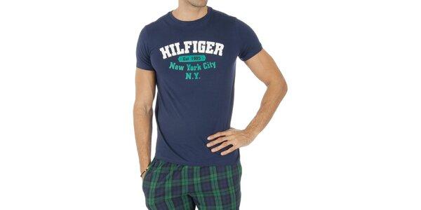 Pánské modré tričko s nápisem Tommy Hilfiger