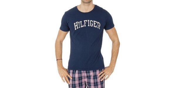 Pánské tmavě modré tričko s nápisem Tommy Hilfiger