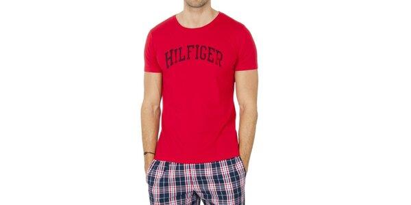 Pánské červené tričko s nápisem Tommy Hilfiger