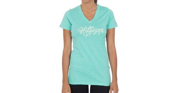 Dámské mentolové bavlněné tričko Tommy Hilfiger