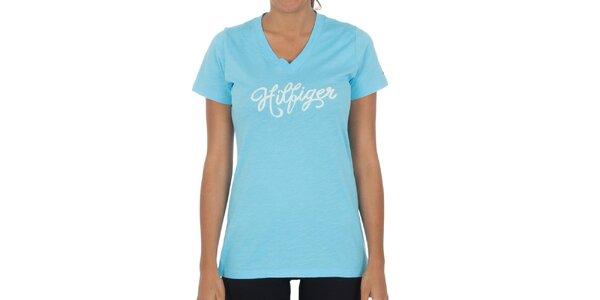 Dámské tyrkysové bavlněné tričko Tommy Hilfiger