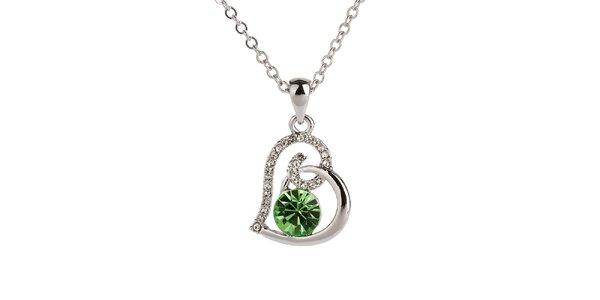 Dámský srdíčkový náhrdelník se zeleným krystalem Swarovski Elements Fifi Ange