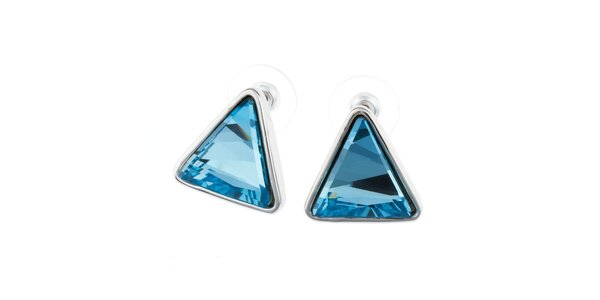 Dámské modré trojúhelníkovité náušnice Fifi Ange
