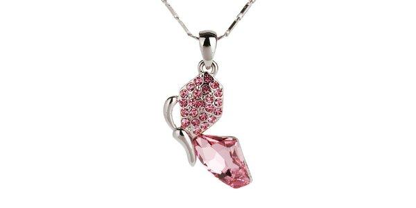 Dámský řetízek s růžovými kamínky Fifi Ange