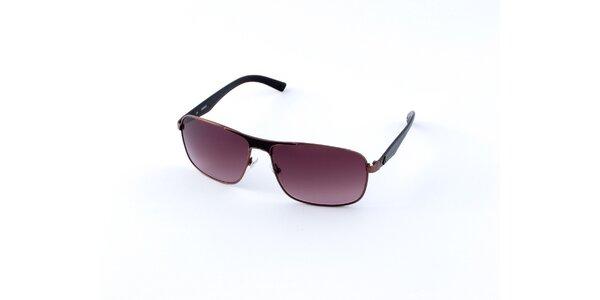 Pánské tmavě hnědé sluneční brýle Guess s tmavě fialovými skly