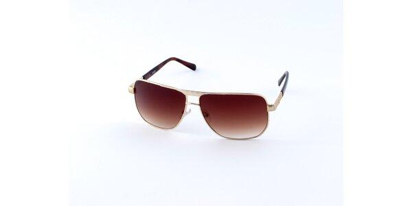 Pánské zlato-hnědé sluneční brýle Guess