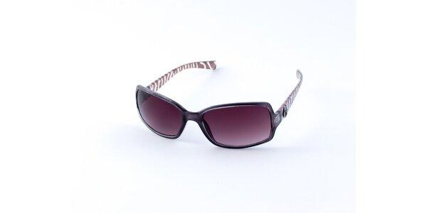 Dámské tmavě fialové sluneční brýle Guess s potiskem