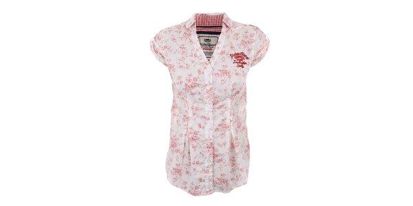 Dámská bílá halenka Timeout s růžovým květovaným potiskem