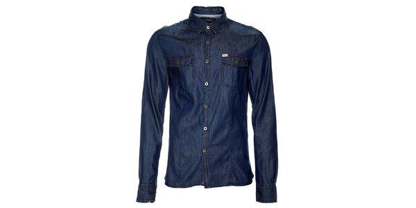 Pánská tmavě modrá denimová košile Timeout
