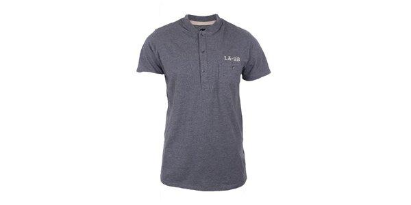 Pánské šedé tričko s knoflíky Timeout