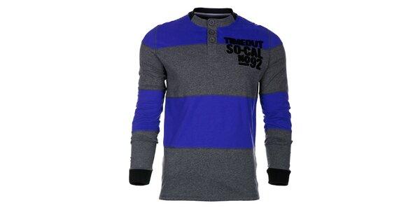 Pruhované šedo-modré pánské tričko Timeout s dlouhým rukávem