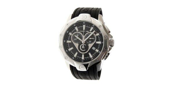 Pánské ocelové hodinky Cerruti 1881 s černým pryžovým páskem