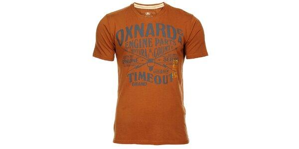 Hnědooranžové pánské triko Timeout s potiskem