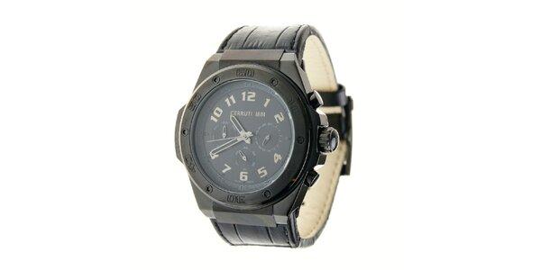 Pánské černé ocelové hodinky Cerruti 1881 s černým koženým páskem