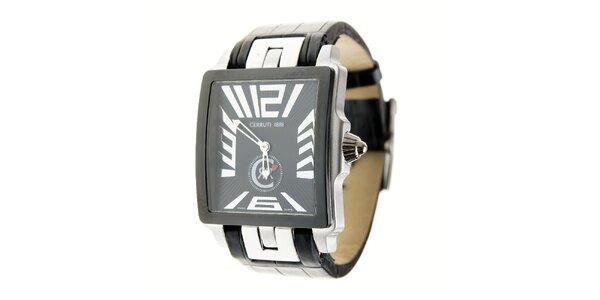 Pánské černo-stříbrné ocelové hodinky Cerruti 1881 s černým koženým páskem