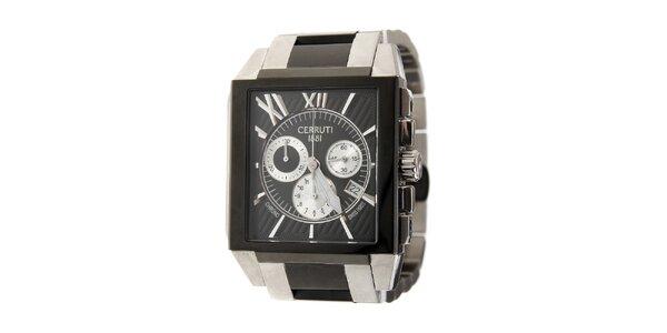 Pánské černo-stříbrné ocelové hodinky Cerruti 1881
