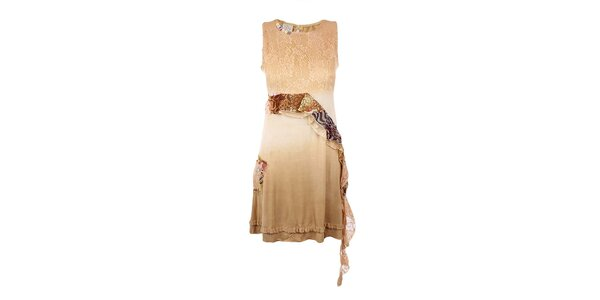 Dámské béžové šaty s kanýrkem Dislay DY Design