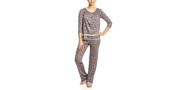 Dámské růžovošedé vzorované pyžamo Vive Maria