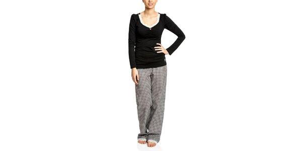 Dámské černé pyžamo s kostkovanými kalhotami Vive Maria