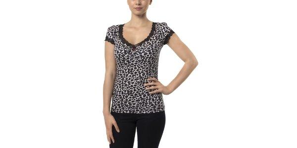Dámské černo-bílé leopardí tričko s krátkými rukávy Vive Maria
