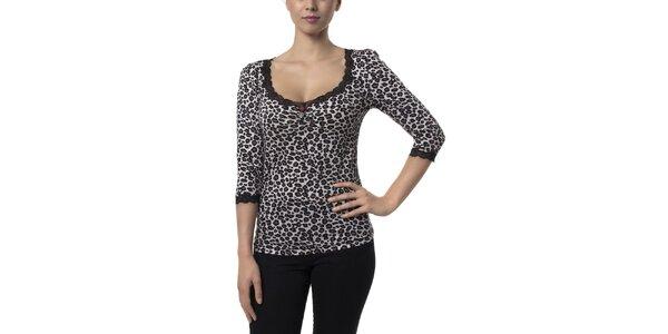 Dámské černo-bílé leopardí tričko Vive Maria