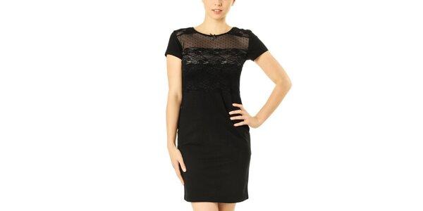 Dámské černé šaty s krajkovou vsadkou Vive Maria