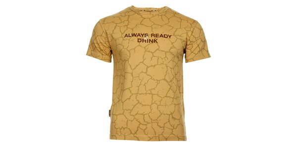 Pánské béžové tričko Bushman s potiskem