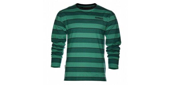 Pánské tmavě zelené proužkované tričko Bushman s dlouhým rukávem