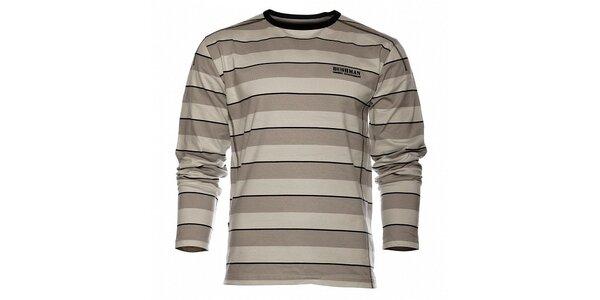 Pánské šedé proužkované tričko Bushman s dlouhým rukávem