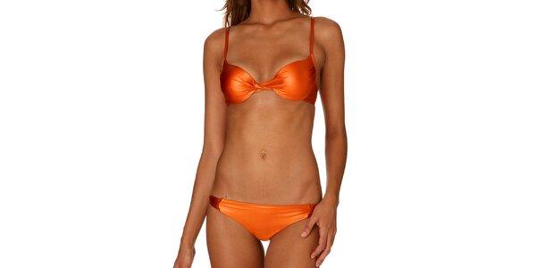 Dámské oranžové push-up bikiny Paphia s metalízou