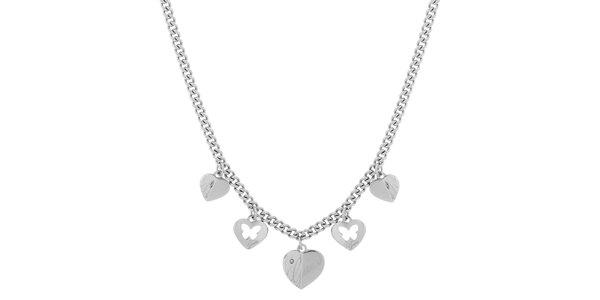 Dámský ocelový náhrdelník se srdíčky Guess