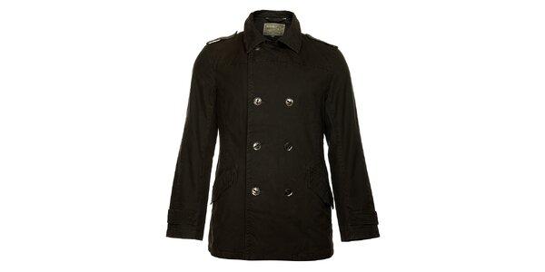 Pánský zimní černý dvouřadový kabát Bushman