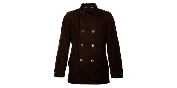 Pánský zimní tmavě hnědý dvouřadový kabát Bushman