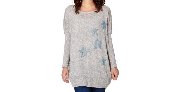 Dámský šedý svetr s hvězdičkami Miss Jolie