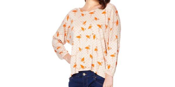 Dámské tričko s oranžovými plameňáky Miss Jolie