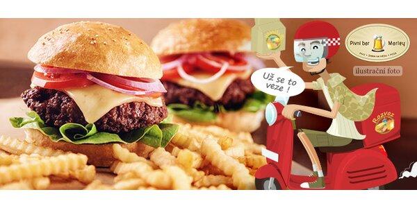 Čtyři 100g hamburgery a 500g hranolky s rozvozem