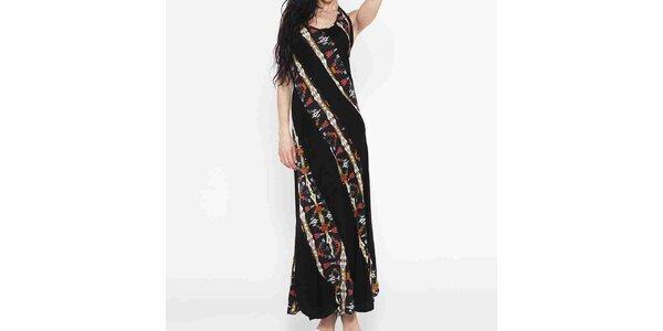 Dámské dlouhé černé šaty s barevným vzorem Mahal