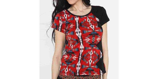 Dámské tričko s krátkým rukávem a barevným vzorem Mahal