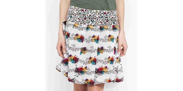 Dámská bílá krátká sukně s potiskem Mahal
