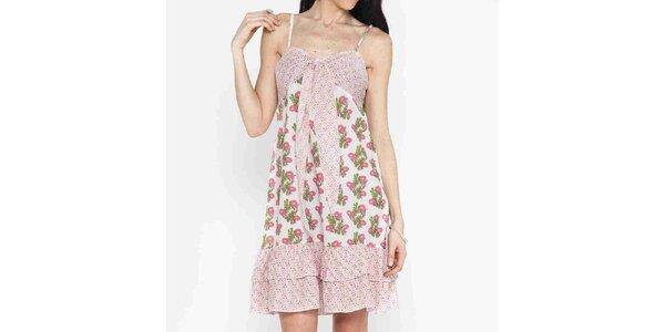 Dámské šaty s růžovo-zeleným potiskem Mahal
