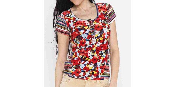 Dámské barevné tričko s květinovým potiskem Mahal