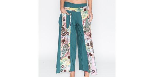 Dámské zelené kalhoty s barevnými díly Mahal