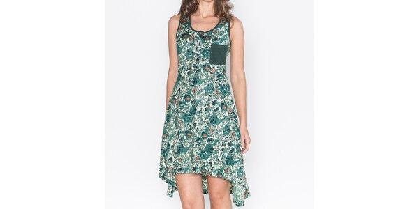 Dámské zelené šaty s asymetrickou sukní Mahal