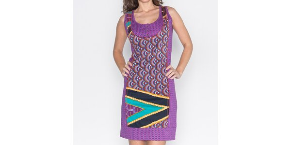 Dámské fialové šaty s barevným potiskem Mahal