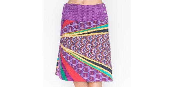 Dámská fialová sukně s barevným potiskem Mahal