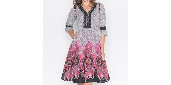 Dámské šaty s růžovým potiskem Mahal