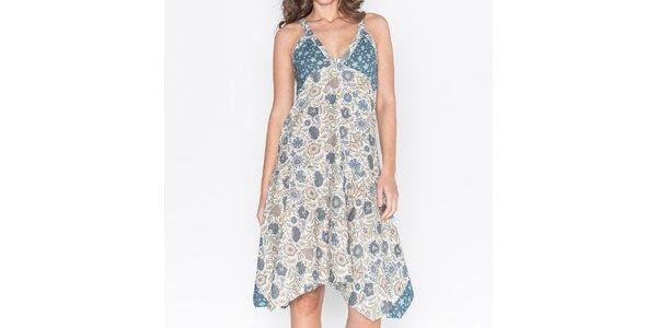Dámské květované šaty s asymetrickou sukní Mahal